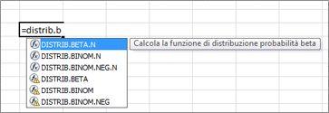 esempio di completamento automatico formule
