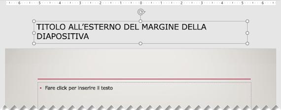 Titolo di una diapositiva posizionato all'esterno del margine visibile della diapositiva.