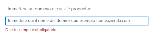 Immettere il nome di dominio e fare clic su Avanti