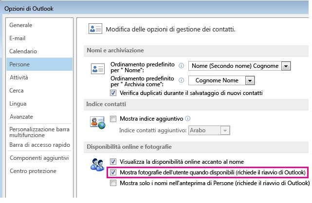Schermata della finestra Opzioni Outlook con la casella di controllo Abilita foto evidenziata