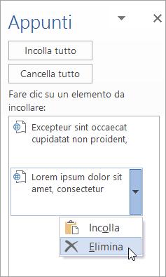 Mostra l'eliminazione di un elemento copiato dagli Appunti