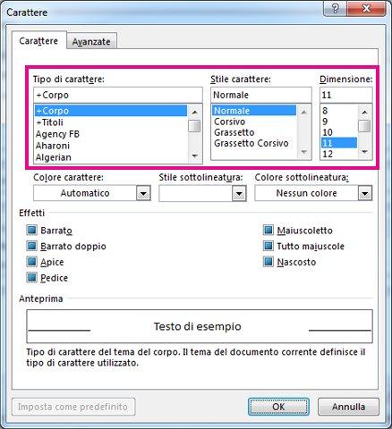Opzioni relative a tipo di carattere, stile e dimensioni nella finestra di dialogo Tipo