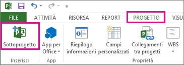 Scheda della barra multifunzione di Progetto con il comando Inserisci sottoprogetto.