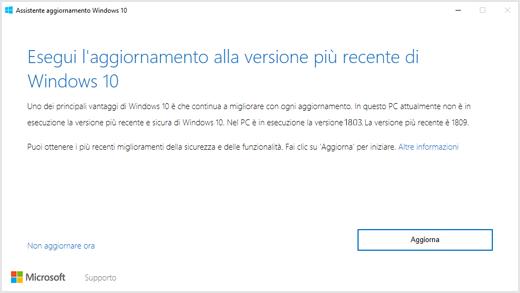"""Finestra di dialogo di Windows 10 versione 1809, che richiede all'utente di eseguire l'aggiornamento all'ultima versione di Windows 10"""""""