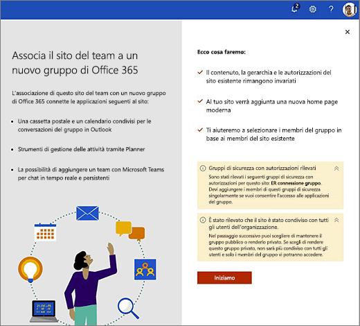 Questa immagine mostra prima schermata della creazione guidata di nuovo Office 365.