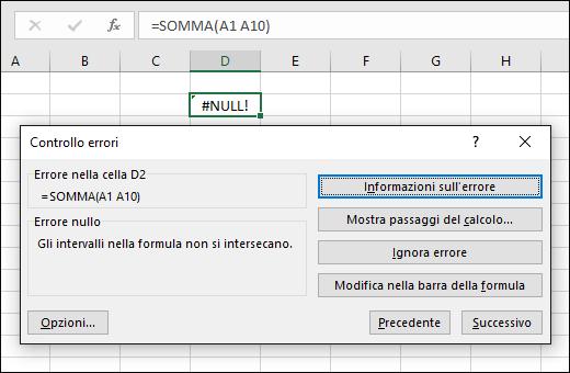 Spostare la casella Controllo errori sotto la barra della formula