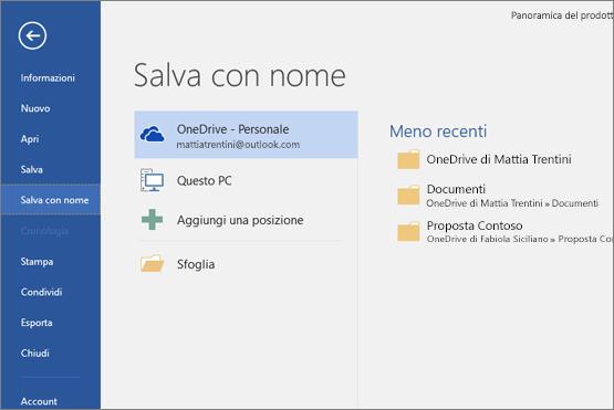 Salva con nome con OneDrive come opzione predefinita