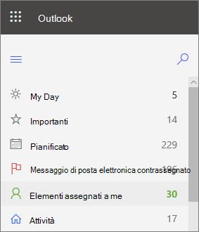 Screenshot della barra di spostamento sinistra per le attività di Outlook per il Web che mostra assegnate a me subito dopo la posta contrassegnata