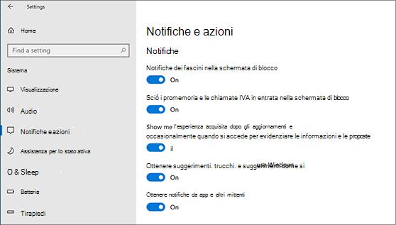 Impostazioni di notifica che possono essere attivate e disattivate