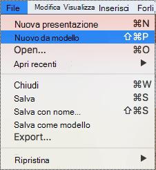 Pagina modelli in PowerPoint per Mac