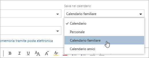 Schermata di Salva in dal menu a discesa calendario