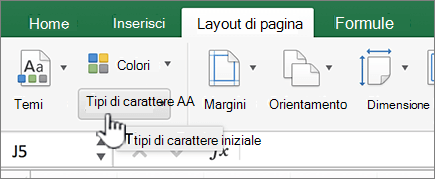 Tipi di carattere tema nella scheda layout