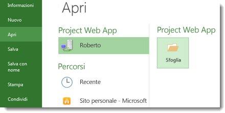 Pulsante Sfoglia per aprire un file di Project Web App