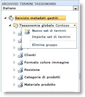 Utilizzare il menu per creare un nuovo set di termini.