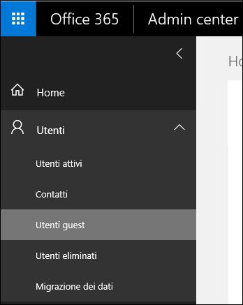 Espandere la sezione utenti nel riquadro di spostamento per gestire gli utenti Guest