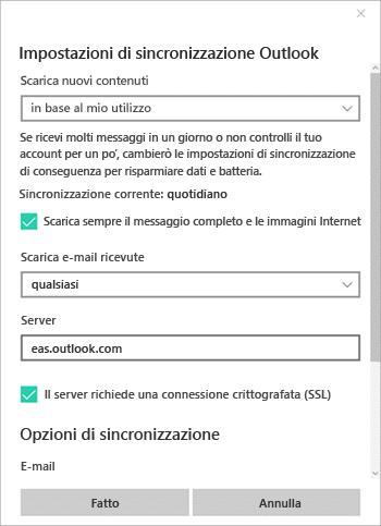 Modificare le opzioni di sincronizzazione per l'account