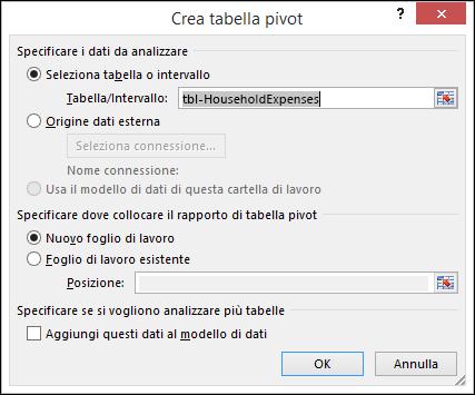 Finestra di dialogo Crea tabella pivot di Excel