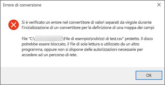 Questo messaggio di errore viene visualizzato se il file CSV contiene dati formattati in modo non corretto.