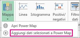 Comando Aggiungi dati selezionati in Power Map