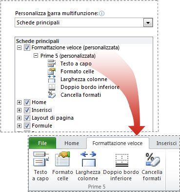Scheda personalizzata sulla barra multifunzione