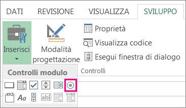 controllo pulsante di opzione sulla barra multifunzione