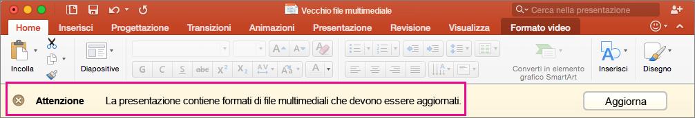 Vecchio formato multimediale in PowerPoint 2016 per Mac