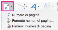 Nella scheda Inserisci selezionare Numero di pagina