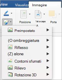 Mostra le opzioni del menu Effetti immagine