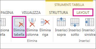 Immagine del pulsante Elimina disponibile nella scheda Layout negli strumenti della barra multifunzione.