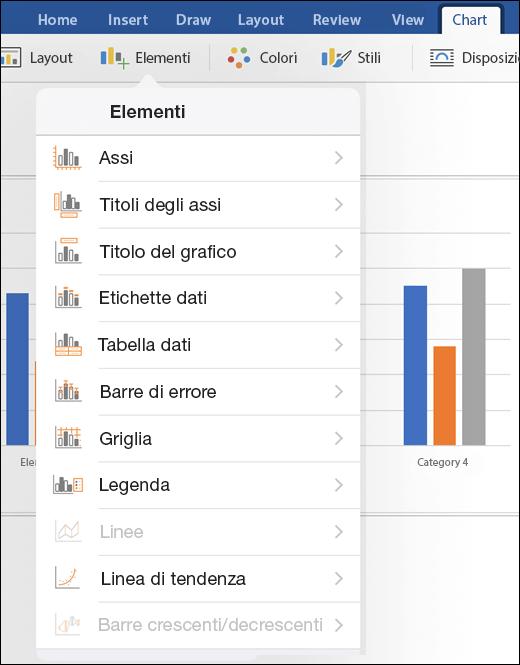 Fare clic su Elementi nella scheda Grafico sulla barra multifunzione per personalizzare gli elementi del grafico nel documento