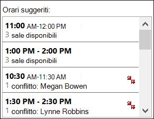Usare lo strumento di selezione orari suggeriti per verificare quando i partecipanti sono disponibili.