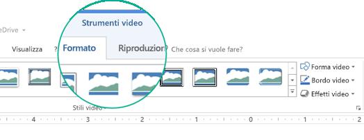 """Quando si seleziona un video in una diapositiva, sulla barra multifunzione viene visualizzata la sezione """"Strumenti video"""", che contiene due schede: Formato e Riproduzione."""