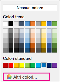 Opzioni dei colori di Sfondo con l'opzione Altri colori evidenziata.