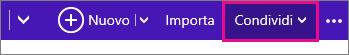 Fare clic su Condividi per selezionare un calendario in Outlook.com