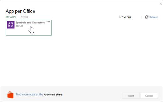 Screenshot che mostra la scheda App personali della pagina app per Office.