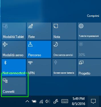 Connettere opzione in Centro operativo