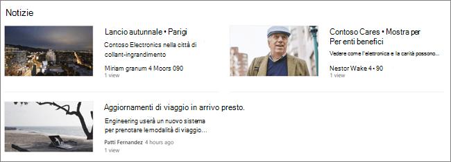 Screencap della web part notizie di un sito di SharePoint, in cui i post sono stati filtrati