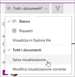 Salva visualizzazione opzione consente di salvare le selezioni di filtro