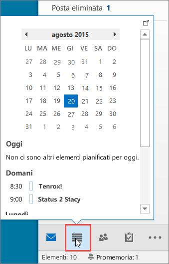 Anteprima del calendario con l'icona Calendario evidenziata