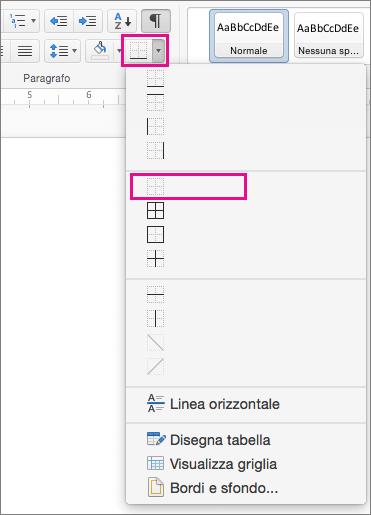 Opzione Nessun bordo evidenziata nel menu Bordo.
