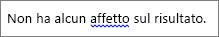 Possibile errore grammaticale indicato da una linea ondulata blu