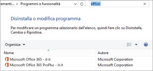 Mostra due copie di Office installate nel Pannello di controllo