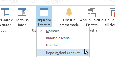 Nella scheda Visualizza fare clic su Riquadro Utenti e quindi su Impostazioni account