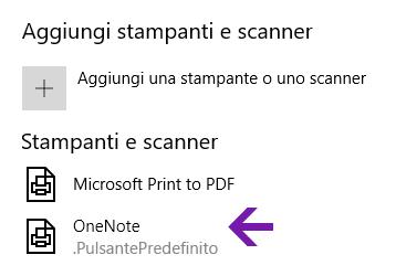 Menu di selezione della posizione del blocco appunti di OneNote per Windows 10