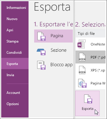 Screenshot che illustra come esportare una pagina di note in OneNote 2016.