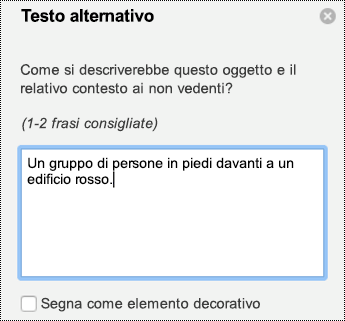 Riquadro di testo alternativo per le immagini in PowerPoint per Mac in Office 365.