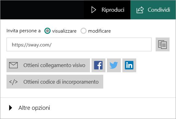Menu Sway dall'account Microsoft