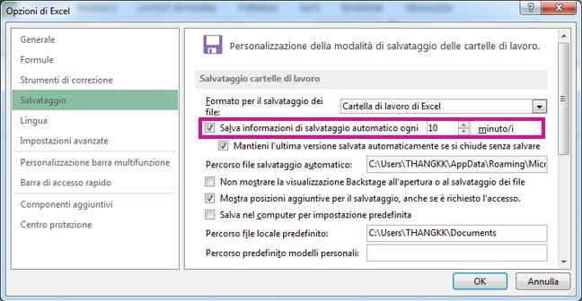 Opzioni di Excel: opzione Salva