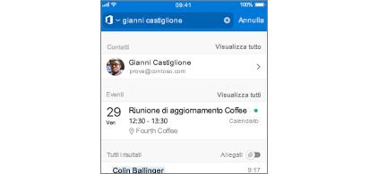 Calendario di Outlook Mobile con riunioni nei risultati della ricerca