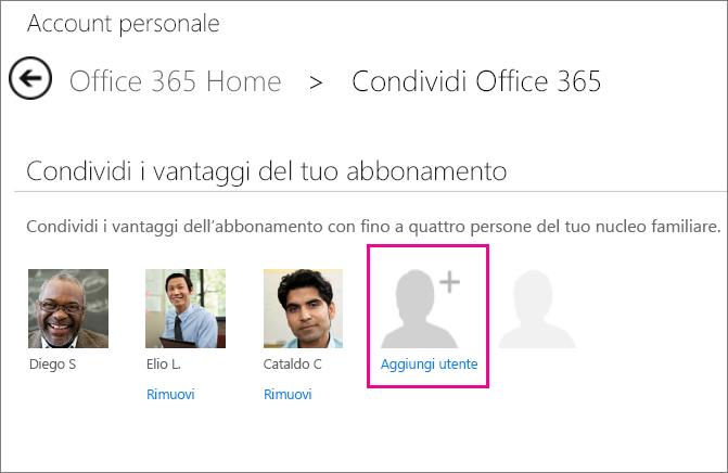 Nella pagina Account personale fare clic su Aggiungi utente per invitare un'altra persona a condividere il proprio abbonamento.